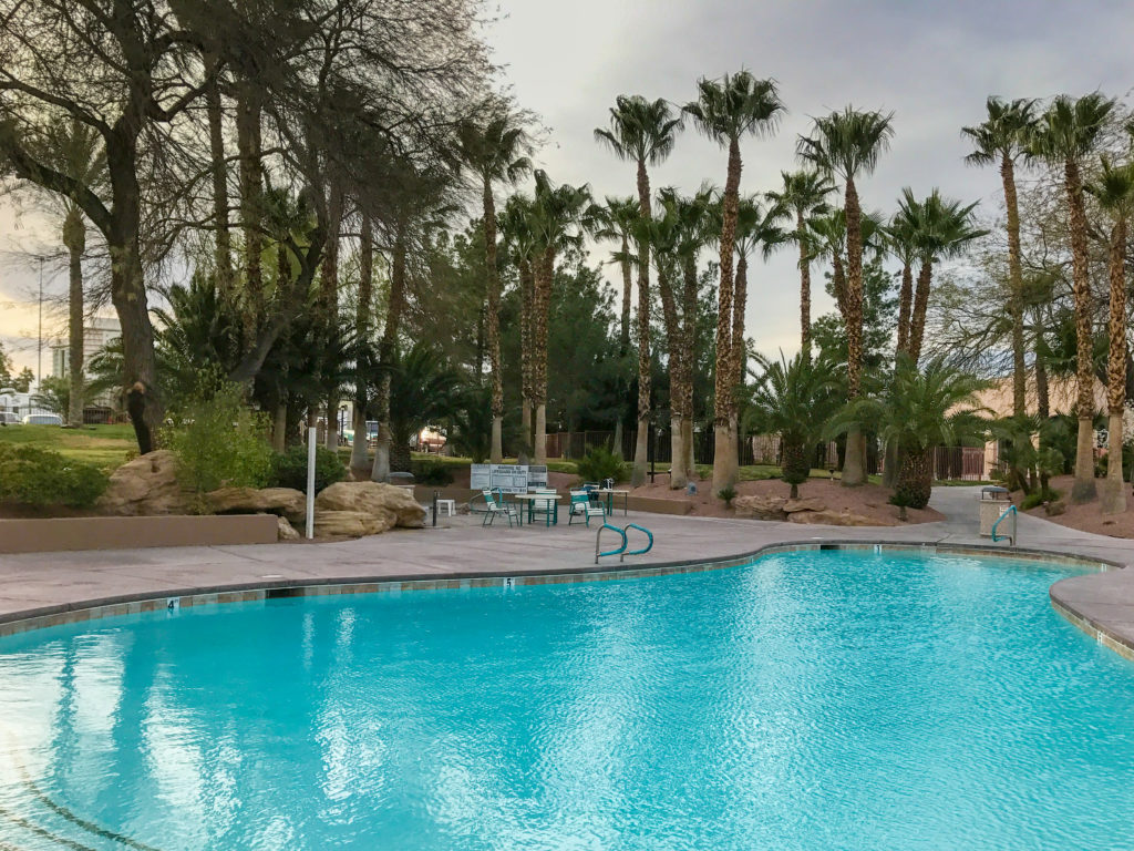 The adult pool area at the Oasis RV Park Las Vegas