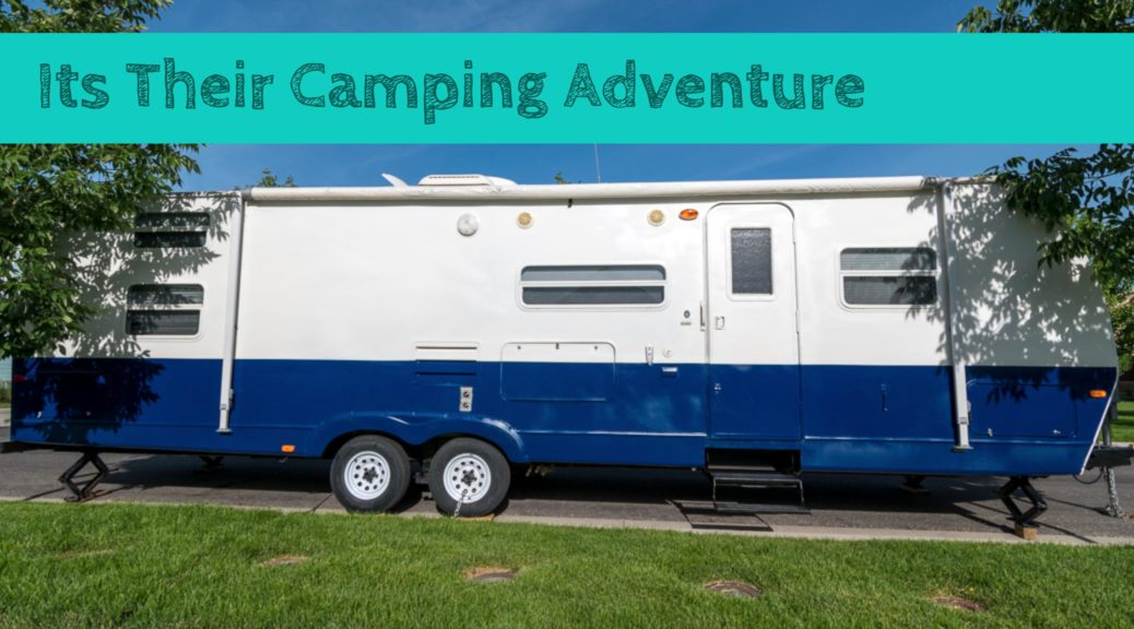 Blue and White Trailer ready to go camping