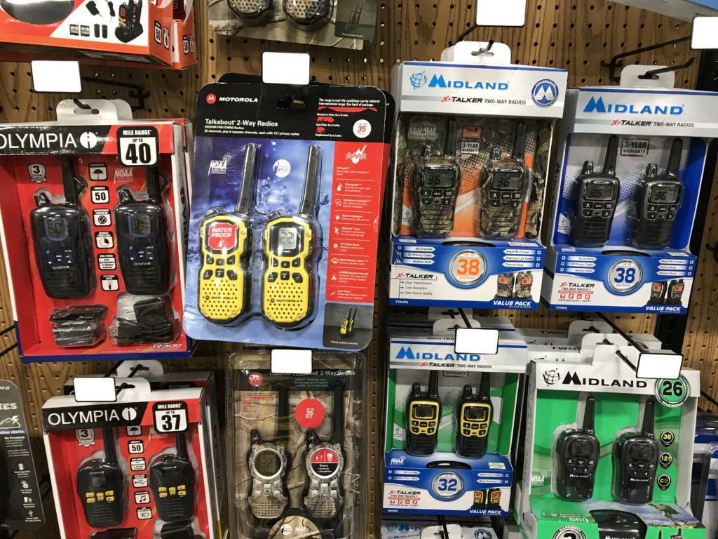 Various radios for sale in a retail store