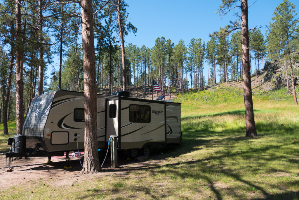 Keystone Hideout RV at the Rafter J Bar Ranch Campground in South Dakota
