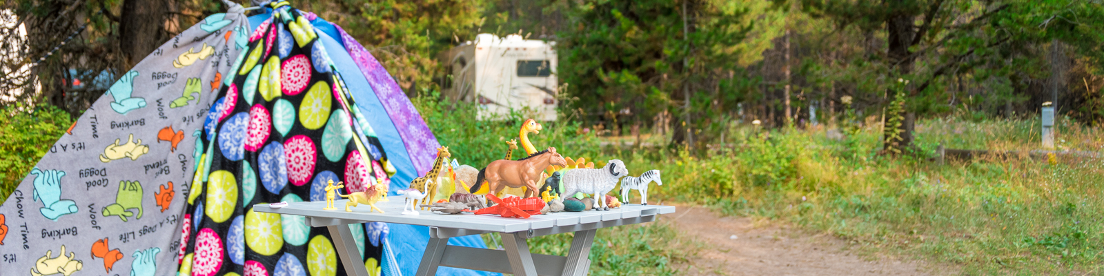 Kids table at the campground